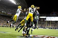 Seahawks receiver Golden Tate, right, pulls in the last-second touchdown to win the game against the Green Bay Packers at CenturyLink Field on Monday night. (Photo by John Lok / The Seattle Times)