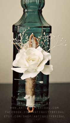 Grooms Boutonniere - Rustic Fabric flower. $19.00, via Etsy.