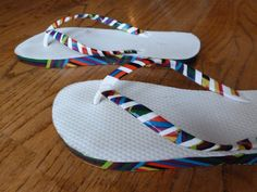 DIY Duct Tape Embellished Flip Flops - gonna need to try this on a few old pairs!