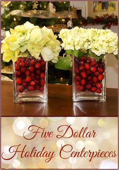 Centerpieces made from Ikea vases and cranberries for under $5.  Easy #DIY #Christmas #decorations for #holiday entertaining.