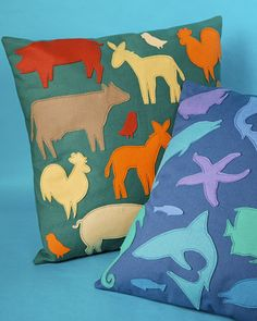 Animal Silhouette Pillow - undersea for his room and butterflies for hers