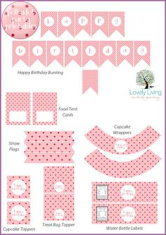 Free Pink and Red Polkadot Party Printables