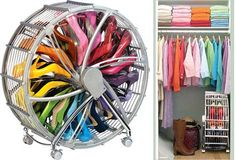 Up to 30 pairs of shoes can be stored in the Shoe Wheel, which tucks into a closet and then rolls out easily; $65 at rakkudesigns.com