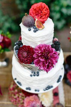 Gorgeous wedding cake with fresh flowers.