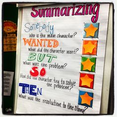 Summarizing anchor chart: have student write on post-its anchor charts, summarizing anchor chart, summarize anchor chart
