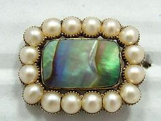 Antique Georgian 18ct Gold Pearl&Shell Inscribed Mourning Brooch Circa 1790's