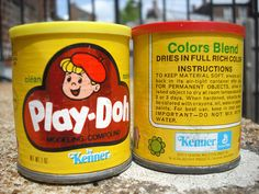 Play Doh in the old cardboard and metal cans!