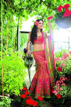 Pink and neon green lengha by Ekta Solanki