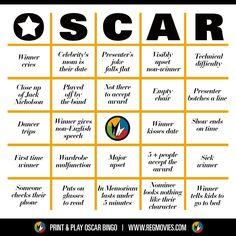 Oscar Bingo! Card no. 5