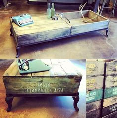 Double Vintage Produce Crate Coffee Table