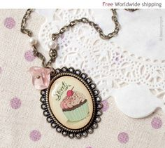 Pink Cupcake necklace N021 by BeautySpot on Etsy, $26.00