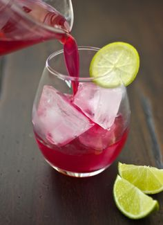 pomegranate margaritas | 2 ounces (1/4 cup) pomegranate juice (see headnote) 2 ounces (1/4 cup) tequila 1/2 ounce (1 tablespoon) lime juice 2 teaspoons agave ice lime slices and pomegranate arils, for garnish  Stir everything together in a small pitcher until the agave is dissolved. Pour into a glass filed with ice, and garnish with a lime slice and some pomegranate arils.