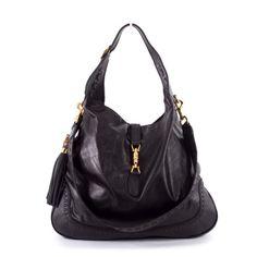 Gucci Black Leather 'New Jackie' Large Hobo Bag
