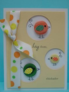 #papercraft #card with #Button birds