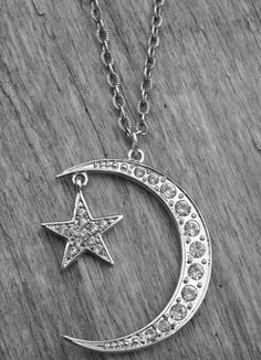 Silver Crescent Moon & Star Necklace