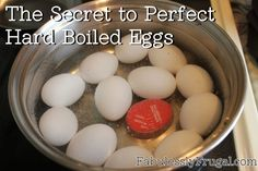 The secret to perfect hard boiled eggs.  Plus a tip to make them easier to peel!  Read it here: http://fabulesslyfrugal.com/2012/04/the-secret-to-perfect-hard-boiled-eggs.html