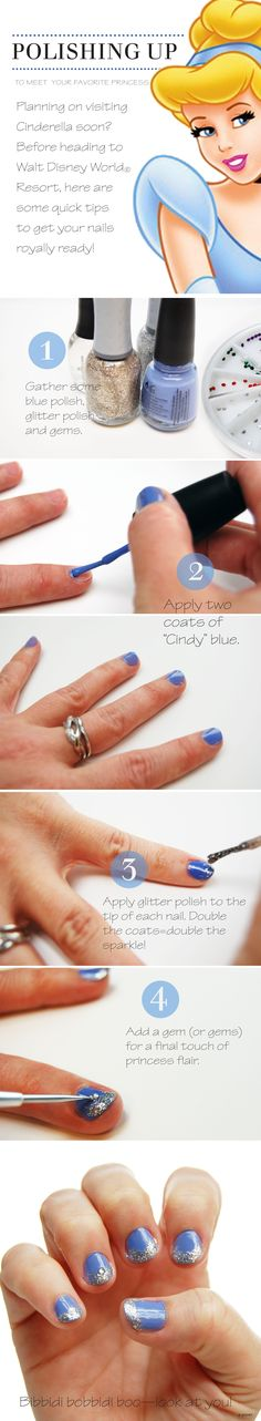 Planning on visiting Cinderella soon?  Before heading to Walt Disney World here are some quick tips to get your nails royally ready.  #DIY #Princess #Fashion