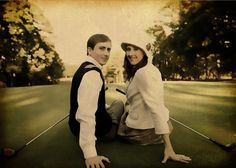 Engagement pose with golf