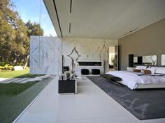 Million Dollar Rooms: Glass Pavilion Home's master bedroom.