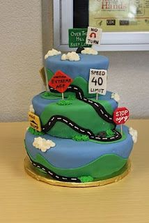 Over the hill road cake motorcycles, mom birthday, challenges, over the hill, cake idea, birthdays, hill road, roads, birthday cakes