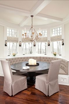 Eating area, East Coast Hamptons dining rooms, dining areas, dine room, breakfast nooks, bay windows, dining room decorating, kitchen, dining room design, banquett