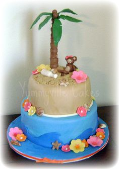 Sweet 16 Luau Cake For A Party The Monkey Sits On
