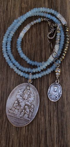 Large Antique French Religious Medal Necklace by AudreySparrow, $112.00