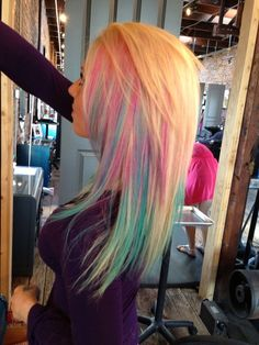 Blonde Hair with Pink and Sky Blue Peekaboo Highlights. If I could I WOULD!!