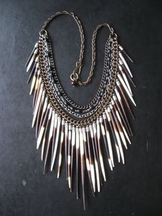 Porcupine Quill Bib Necklace - Antique Rosary Beads and Tribal Fringe - Ceremony No. 2 on Etsy, $168.00