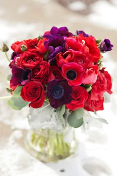 red and purple poppies, color schemes, color combos, wedding flowers, red roses, purple bouquets, anemones, plum, red and purple flowers