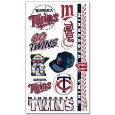 Minnesota Twins Tattoos by MLB. $2.49. Officially licensed temporary tattoos. Each tattoo sheet comes with a collection of ten different temporary tattoos. Tattoos are applied with a wet cloth and easily removed with clear tape. Made in USA.