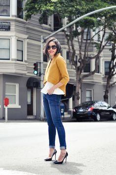 Jacket - BB Dakota via Stitchfix   Top - Zara  Jeans - DL1961 Legging Jeans  Necklace - Oscar de la Renta  Purse - Celine  Sunglasses - Prada  Heels - Prada