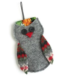 Felted Wool Gray Owl Christmas Gift Card Holder/ by TrendyEarth