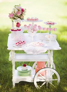 Dainty Mommy and Me Tea Party Ideas: Desserts on a mini cart :)