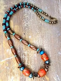 Painted Wood Turquoise & Antiqued Brass Necklace by MereTrinkets, $22.00