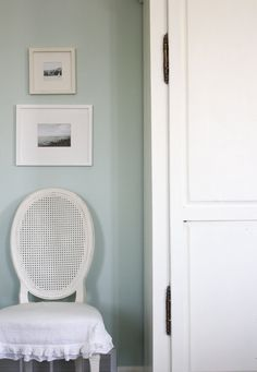 House of Turquoise: Whitewashed Tiffany Bedroom. Wall color is is Benjamin Moore's Palladian Blue  HC-144.