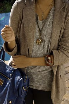 The bag, the necklace, the colors, the blazer...everything!
