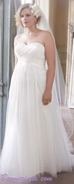 Here's a great wedding dress for older brides (david's bridal)... If you're a plus sized chick with an apple shaped body... you should read this article: http://www.boomerinas.com/2014/10/08/wedding-dresses-for-your-body-type-apple-shapes-plus-size-tummies/