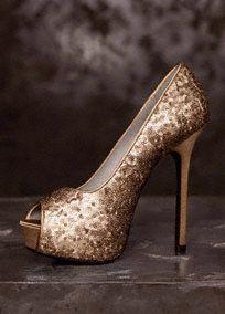 Fashion-forward White by Vera Wang sequined peep-toe platform pump.   Style VW370131 #davidsbridal #shoes #sparkleandshine