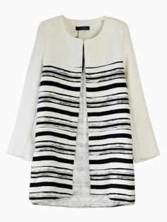 Striped Longline Coat with Round Neck in White $32.99