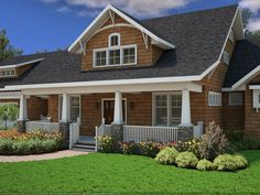 This new bungalow house plan from The House Designers features a luxury master suite and plenty of outdoor/indoor living spaces.