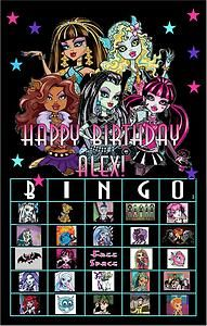 16 Card Personalized Party Favors Game MONSTER HIGH BINGO Invitation Birthday