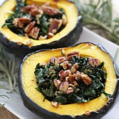 Garlic and Kale Acorn Squash is an easy side dish or meal for cold winter nights.