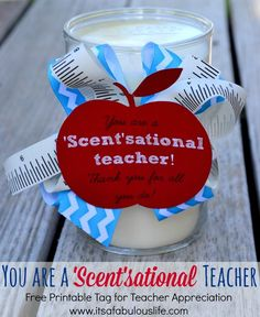 Teacher Appreciation Gift Idea: Candles and Candle Warmers with free printable tags!