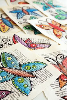 painted butterflies, crafts with old books, art journal, old book pages, smash book, drawings on book pages, altered books, recycled art, alisa burk