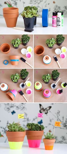 Painted Planter Pots • Lots of great Ideas & Tutorials! • Including this project from hello bee.