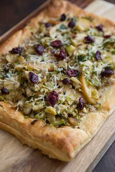 Easy to veganize: Brussel Sprout Apple Tart with Walnut Pesto