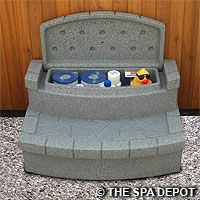 Storage Steps to neatly store your hot tub  outdoor cleaning products.