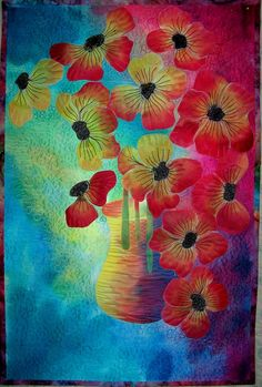 Art quilt wall hanging Poppies by marytequilts on Etsy