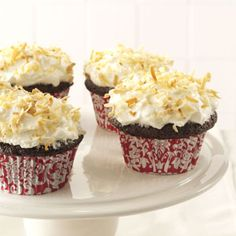 Chocolate Angel Food Cupcakes with Coconut Cream Frosting